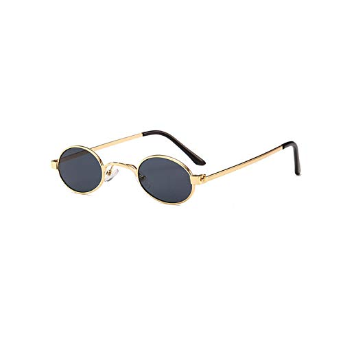 Vikimen Sportbrillen, Angeln Golfbrille,Small Oval Sunglasses Men Round NEW Metal Frame Unisex Gold Black Red Small Sun Glasses For Women Round Uv400 as show in photo full black