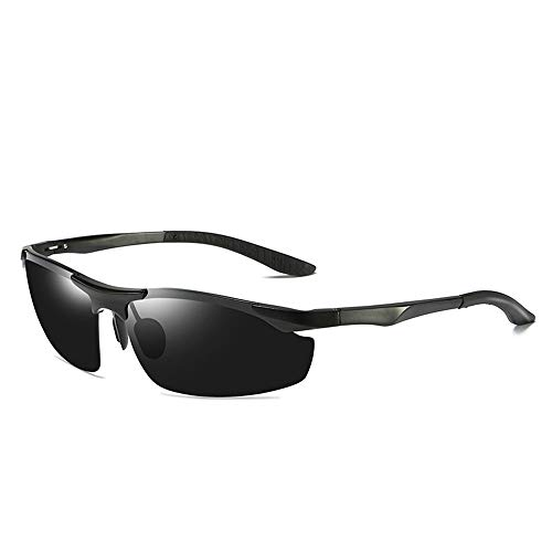 CXJC Herren Polarisierte Sonnenbrille Ultra Leicht Aluminium-Magnesium UV-Schutz für Sportarten Laufen Radfahren Angeln Fahren Golf für Nachtsonnenbrille mit Aufbewahrungsbox Set Schwarz