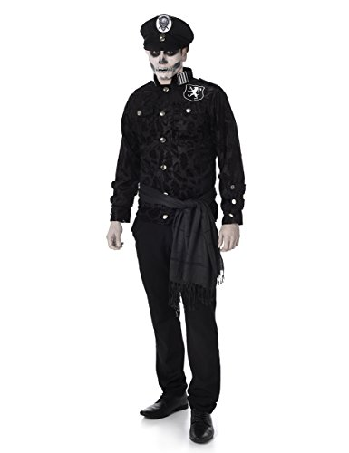 Deluxe Zombie Officer Mens Fancy Dress Halloween Untoten Polizei Cop Erwachsene Kostüm (Zombie Cop Kostüme)