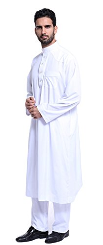 Chor Anzug (Auspicious beginning Männer Moslemischer Normallack Kurta Saudi-Arabien Geschäft Loose Fit Zweiteilige Thobe)