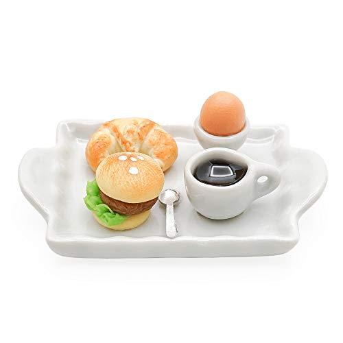 Odoria 1/12 Miniatur Lebensmittel Croissant Burger Kaffee Brunch Puppenhaus Küche Zubehör