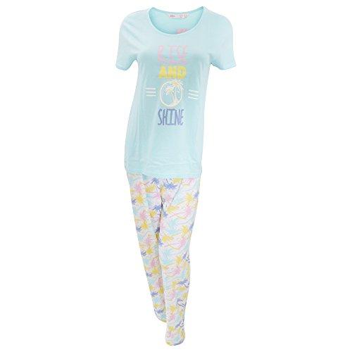 Ensemble de pyjama à motif tropical - Femme Aqua