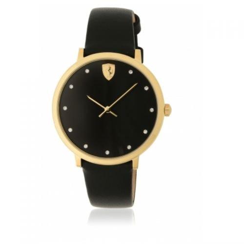 ORIGINALE FERRARI da donna orologio al quarzo/orologio da polso ultraleg Gero Scuderia Nero/Oro