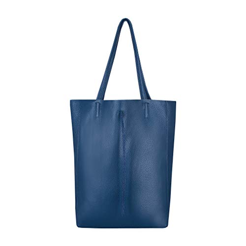 SKUTARI original Damen Leder Shopper Vittoria Nachtblau | Handtasche mit eingenähter Innentasche | Beuteltasche Tragetasche groß | 36 x 38 x 13 cm