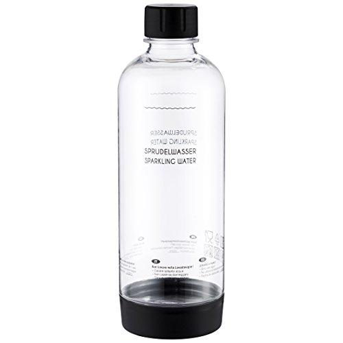 Levivo PET-Flasche mit Schraubverschluss, passend für viele SodaStream Sprudler, Schwarz, 1.0 Liter – hochwertige Kunststoff Flasche mit Deckel, in mehreren Farben, nicht für Levivo Wassersprudler