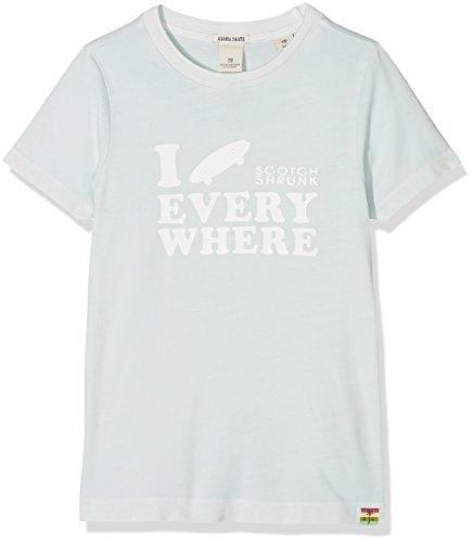 Scotch & Soda Shrunk Jungen T-Shirt Garment Dyed Tee with Artwork, Blau (Pool 568), 176 (Herstellergröße: 16) (16 Pool)