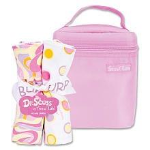 Trend Lab Dr. Seuss Bottle Bag and Burp Cloth Set - Pink