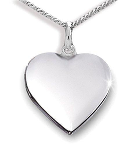 Anhänger Medaillon Herz 925 Silber Herzform zum öffnen/für Bildeinlage mit Panzerkette (Silber Medaillon Herz)