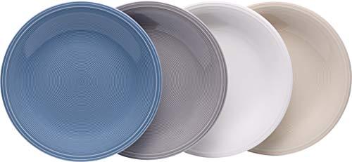 vivo by Villeroy & Boch Group Color Loop Frühstücksteller, 4er Set, Durchmesser 21,5 cm, Premium Porzellan, Bunt -