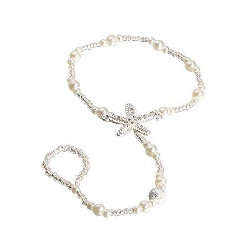 hou zhi liang Boho Seestern barfüßigsandelholze Wulstige Perlen-Armbänder Fußkettchen-Fuss-Ketten Schmuck Strand barfüßigsandelholze für Mädchen 1PC