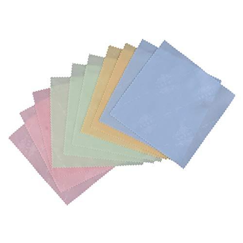 FLAMEER 10er Putzstuch Trockentuch Mikrofasertuch Reinigungstuch Poliertuch Staubentfernung Tuch für Bildschirm Modellwerkzeuge Silberschmuck Goldschmuck