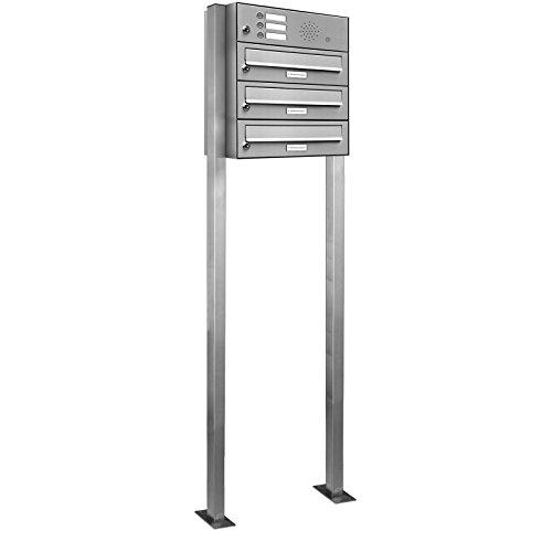 AL Briefkastensysteme 3er Briefkasten mit Klingel als Standbriefkasten, 3 Fach Briefkastenanlage in Edelstahl rostfrei Postkasten modern