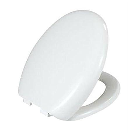 Abattant Toilette WC Souple Fermeture Lente Blanc Ovale Luxe Libération rapide de fixation.