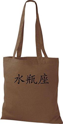 ShirtInStyle Stoffbeutel Chinesische Schriftzeichen Wassermann Baumwolltasche Beutel, diverse Farbe chestnut