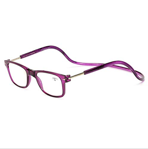 KOMNY Hängender Hals Lesebrille liefern starke magnetische Stein presbyopic Brille HD tragbare komfortable alte Spiegel drehbare Schutzbrille lila Box, 1,50