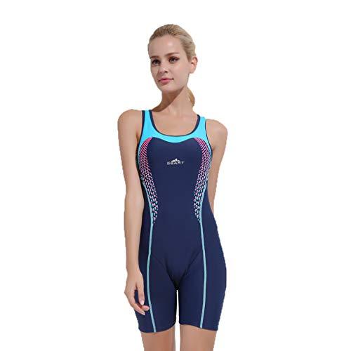 iYmitz Damen Badeanzug Push up Bademode Schwimmanzug Einteiliger Schnelltrocknend Effekten Rückenfrei Bandeau(Dunkelblau,XL)