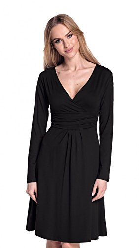 Glamour Empire. Femme. Robe à taille froncée. Robe jersey manches longues. 890 Noir