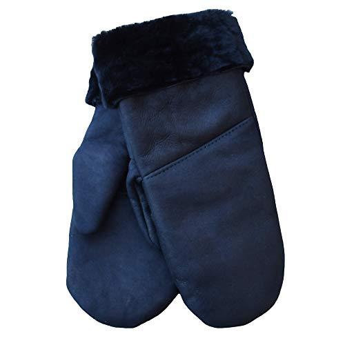 SamWo, Handschuhe/Fäustlinge für Damen, 100% Lammfell, Größe: M, Nachtblau