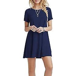 YOUCHAN Vestidos Mujer de Camiseta Suelto Casual Cuello Redondo Ocasional Sólida Mini Vestido_Azul Oscuro_L