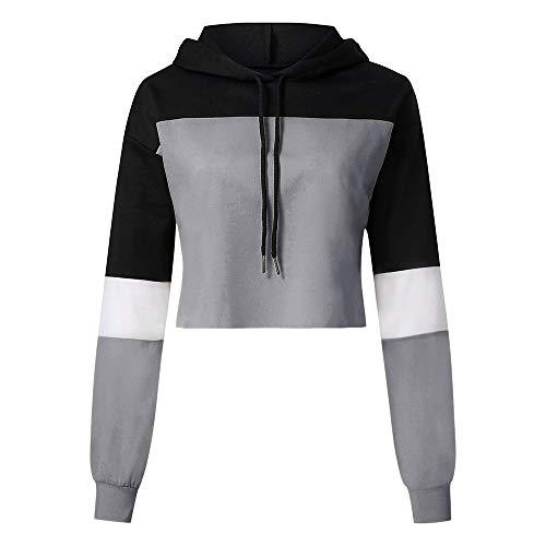(iHENGH Karnevalsaktion Damen Womens Langarm Splcing Farbe Hoodie Sweatshirt Frauen Pullover Tops Bluse)