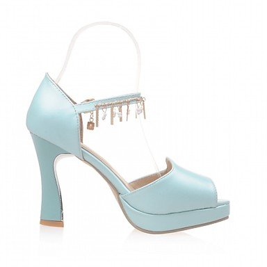 LvYuan Da donna Sandali Finta pelle PU (Poliuretano) Estate Autunno Footing Fibbia Quadrato Bianco Blu Rosa 7,5 - 9,5 cm Blue