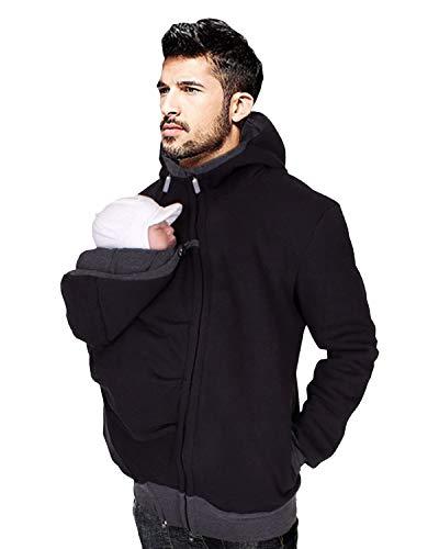(DULEE Winter Frauen männer Umstandsjacke Mutterschaft Hoodie Fleece känguru Pullover Mantel Sweatshirt babytrage wrap Abdeckung für Papa,Schwarz 2XL)