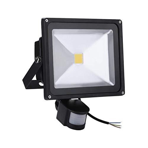 50W LED SMD Strahler mit PIR Bewegungsmelder - led scheinwerfer Fluter Wasserdicht IP65 Aluminiumkörper Schwarz Warmweiß