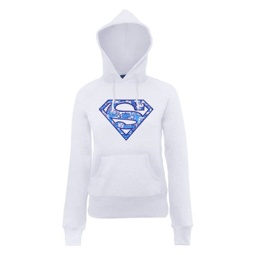 DC Universe Damen Kapuzenpullover Dc Comics Official Superman Comic Logo Womens Hooded Sweatshirt Weiß - Weiß