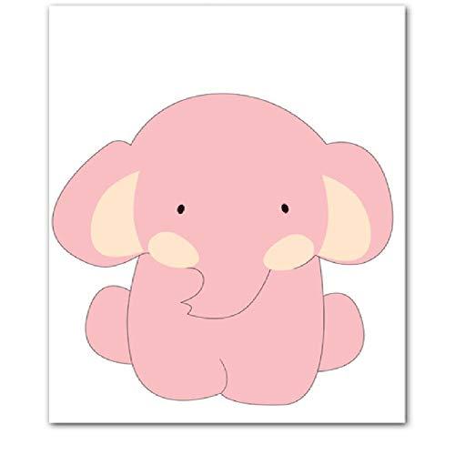 Cartel Elefantes Lienzo Pintura Arte de la pared Dibujos animados de animales...