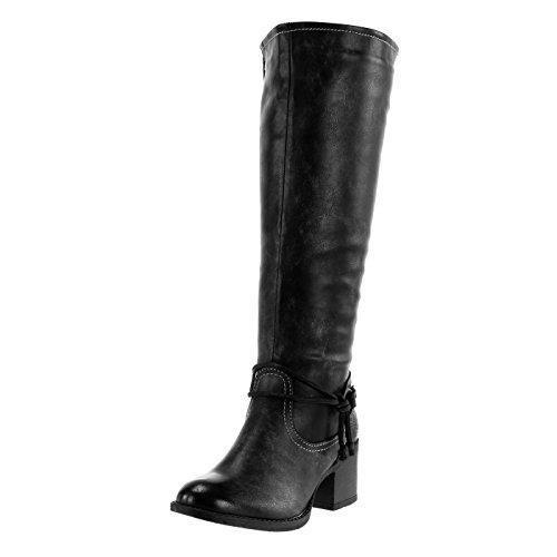Angkorly - Chaussures Mode Bottes - Femme Style Vintage Bottes De Cavalier Boucle Couture Coutures Couture Zip Haut Talon Bloc 5 Cm Doublé Manteau De Fourrure Noire