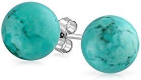Bling Jewelry Plata Esterlina Turquesa Arete Epárrago de bola 6 mm