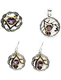 Round Pendent And Earing With Amethyst Stone