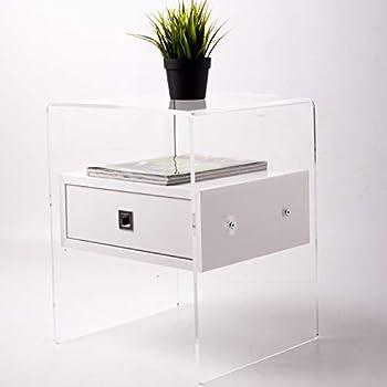 slato table de nuit table de chevet avec un tiroir design moderne en plexiglass transparent