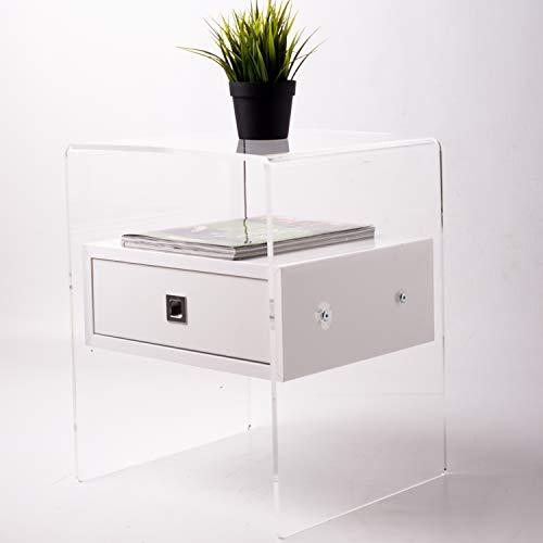Fimel Nachttisch aus Plexiglas, transparent, mit Schublade, Weiß glänzend <br />Maße L 40 x B 37 x H 50 cm Stärke Plexiglas 8 mm (Acryl-nachttisch)