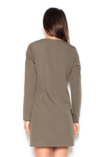 Katrus Robe simple avec rabats décoratifs et manches longues Olive
