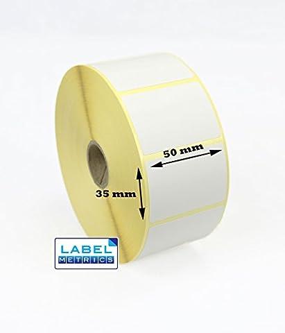 Label Metrics - 50mm x 35mm Direct Thermal Labels for Zebra printers GK420D, GX420D, GK420T - 1,000