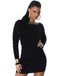 Jela London Damen Kleid Langarm Pullover Longpulli Sweater  Rücken-Ausschnitt Ripp-Optik PulloverKleid Longshirt 0747e7bbb9