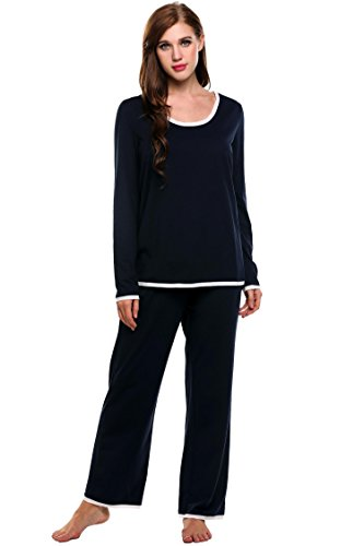 ADOME Damen Schlafanzug Hausanzug Langarm O-Ausschnitt mit Elastische Taille Shorts Pyjama Set, Marine, EU 42 (Herstellergröße: XL) (Schlaf-hose Passform Lockere)