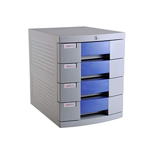 Desktop Aktenschrank 4-lagig , Mit Schloss Kunststoffschublade Informationsbüro A4 Aufbewahrung Blau 11.9in * 15.3in * 14.6in (Color : B1, Size : 4-Layer) -