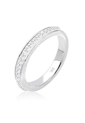 Elli Damen Echtschmuck Ring Bandring mit Swarovski Kristallen weiß in 925 Sterling Silber