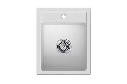 Granitspüle weiß, 1-Becken, Siphon, Spülbecken, Küchenspüle, Schrankbreite ab 40 cm