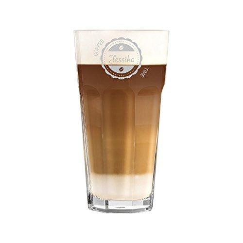 polar-effekt Latte Macchiato Glas 480ml Personalisiert - für Getränke wie Cappuccino, Kaffee-Latte und Co mit Gravur - Geschenk-Idee zum Geburtstag - Motiv coffee time