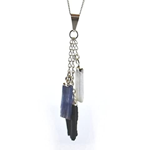 Selenite, Tourmaline & Kyanite Three Pieces Dangle Silver Plated Crystal