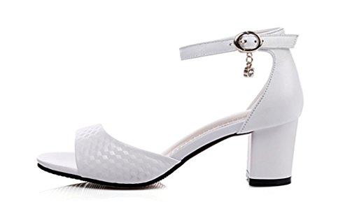 Sommer Damen Knöchelriemchen Sandalen mit Blockabsatz Weiß