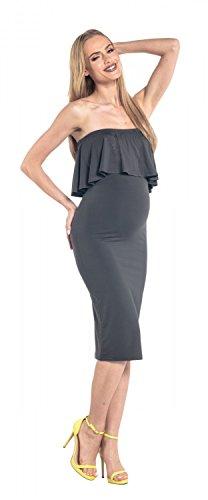 Happy Mama. Damen Umstands Stretch Midi Kleid trägerlos Bleistiftkleid. 571p Graphit