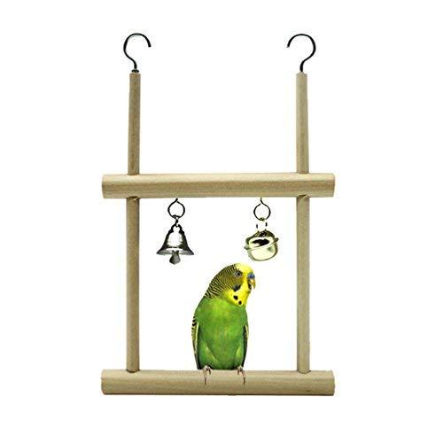 TickTocking Percha para pájaros con Espejo para Loro, paracaídas, Galletas, Lovebird Africano, Color Gris, Macaw Amazon Cockatoo Jaula de Madera Juguete