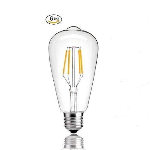 DPG ST64 LED Filament Ampoules E27 4W 110V-220V blanc chaud (2700K) Vintage de collection de type Edison avec 40W équivalent (6-Pack)