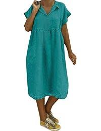 901a2f1ea2e9 ORANDESIGNE Donna Estate Vestiti Casual Eleganti Senza Maniche Girocollo  Cotone Lino T-Shirt Lunga Mini