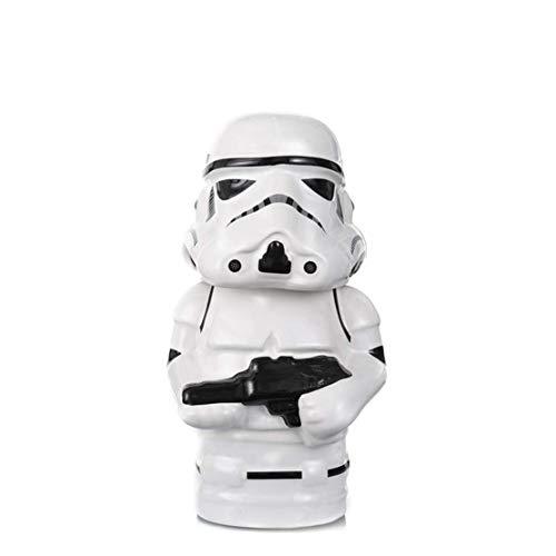 650 ml de Alta Capacidad 3D Star Wars Darth Vader Guerrero Negro Soldado Blanco Taza de cerámica café té Leche Agua Taza Drinkware Regalo (Blanco)