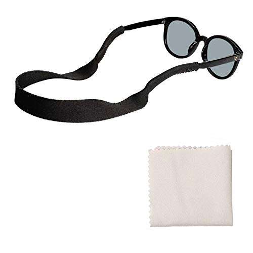 Tagvo Neopren Sonnenbrille Halter Bügel 3 Satz mit Brillenputztuch, justierbare Sich hin und herbewegende Eyewear Halter, Anti Beleg und schnell trocknende Brillen Halter für Mann Frauen Erwachsener -
